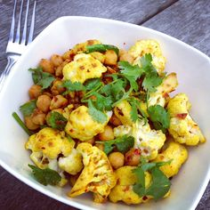 Warm Salad of Spiced Chickpeas and Roasted Cauliflower: THE ARTISTS PLATE | Wholesome cooking, Paleo recipes, Gluten Free Recipes, Vegetarian Recipes, Fitness and art. #vegan #vegetarian