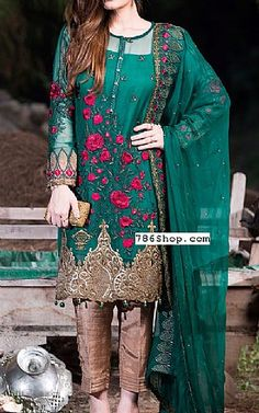 Bottle Green Chiffon Suit   Buy Adoree by Imrozia Pakistani Dresses and Clothing online in USA, UK