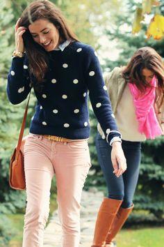 Foreground: Sweater: Brooks Brothers. Velvet Pants: J. Crew. Bag: Frank Clegg. Bracelet: Lauren Hope.    Background: Jeans: J Brand wax denim. Sweater: J. Crew. Scarf: J. Crew. Jacket: J. Crew. boots: Via Spiga.