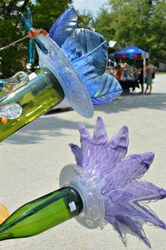 glass flower creations by Kim Jongsma seen on A Garden Walk With Friends And Wine - laughingabi.com