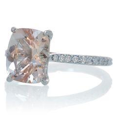 14 Karat White Gold 10x8 Cushion Cut Cathedral Style Diamond Setting Morganite Engagement Ring Solitaire Alternative Wedding Bridal Jewelry. $990.00, via Etsy. So love Morganite!!!