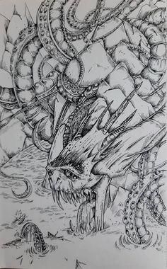 Sea-Monster Guardian! by Terrorfoxes Sea Monsters, Monster Art, Kraken, Cthulhu, Sea Creatures, Original Artwork, Sci Fi, Horror, Fan Art