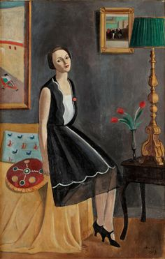 """Inga Tidblad (1927) by Einar Jolin (1890-1976) Swedish painter known for his decorative and naïve Expressionist style. He accentuated """"the beautiful"""". He deviated from traditional Expressionists by simplifying his motifs in a primitive way, painting an imagined reality rather than raw emotions. He used delicate brush strokes and light colors. His most noted works were made during the 1910s and 20s in his trademark naïve style (wiki) - (huariqueje)"""