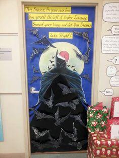 Batman door with 3 D bats.  Each student can write a goal on each bat using a silver sharpie.