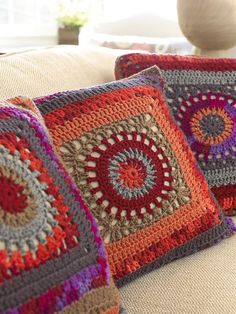 Ravelry: Circle in the Square Pillows by Marianne Forrestal Nice colors--Love the gray tones with the warmer colors