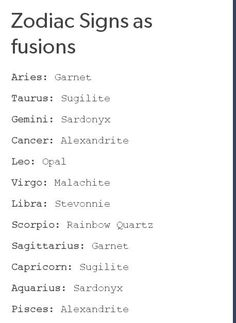 Zodiac | Steven Universe | Pinterest ok just so u know i didnt write this.