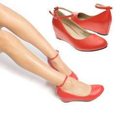 343f60abfec Women Red Mary Jane Ankle Strap Med Low Hidden Wedge Heel Ballet Flat Pump  US8.5