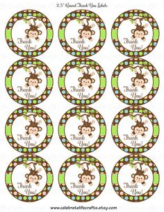 Baby Shower Printable 2.5 inch Round Labels Favor Tags - Printable Baby Shower Party Decorations - Jungle Animals Monkey - N019