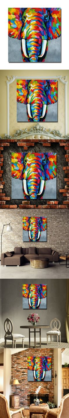 Hand painted indian elephant abstract oil painting for living room canvas based art home decor hand painting $15