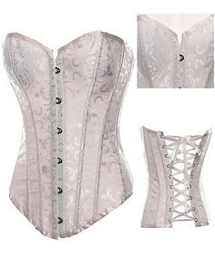 Women Steel Boned Lace Up Sexy Corset Floral Bustier Lingerie Overbust G-string