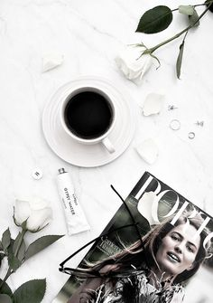 flatlay inspiration with coffee and flowers