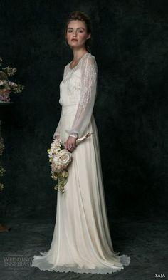 Saja #Bridal 2016 hand embroidered long sleeve silk chiffon #wedding dress vt6310