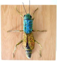 Fabric sculpture Grasshopper textile art by irohandbags on Etsy