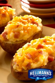 Game day alert! For your next home tailgate…make Twice Baked Potatoes with Ham and you'll be TWICE as popular. It's one of our Hellmann's Mayonnaise faves.