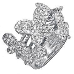 Elora 18k White Gold 1 1/3ct TDW Round Diamond Butterfly Ring (H-I, I1-I2) (Size 4), Women's