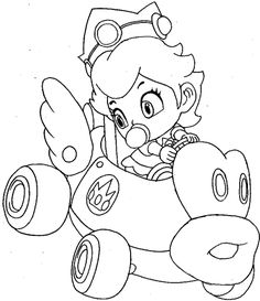 How to draw baby princess daisy from wii mario kart for Mario kart coloring pages peach