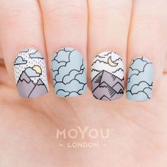 Shop MoYou-London's Scandinavian nail art plates for chic and minimalist mid-century modern manicure designs, such as Scandi flowers and Nordic patterns. Cute Nail Art, Cute Acrylic Nails, Beautiful Nail Art, Cute Nails, Pretty Nails, Nail Art Designs, Orange Nail Designs, Cartoon Nail Designs, Nagel Gel