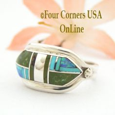 Four Corners USA Online - Size 7 1/2 Green and Blue Turquoise Opal Inlay Ring Navajo Artisan Albert Francisco, $150.00 (http://stores.fourcornersusaonline.com/size-7-1-2-green-and-blue-turquoise-opal-inlay-ring-navajo-artisan-albert-francisco/)