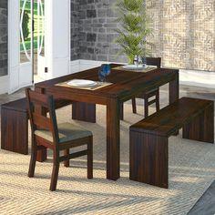Conjunto para Sala de Jantar com mesa, 2 cadeiras e 2 bancos Savannah Escarlate 78 x 140 x 90 - Serraltense Escarlate 78 x 140 x 90 - Serraltense