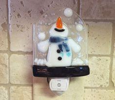 Nightlight Fused Glass Sweet Snowman by cheecheesglass on Etsy