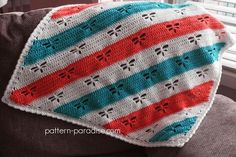Free crochet pattern for dragonfly corner to corner (C2C) blanket, afghan, throw by pattern-paradise.com #crochet…
