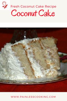 Learn how to make a fresh coconut cake recipe. This cake is baked in 3 eight inch cake baking pans. It is filled with a fresh coconut sauce recipe then it is frosted with a whipped cream frosting. Fresh Coconut Cake Recipe, Coconut Cake From Scratch, Coconut Sauce, Coconut Recipes, Whipped Frosting, Cream Frosting, Whipped Cream, Cake Icing, Cupcake Cakes