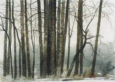 Lin Shun-Shiung(林順雄 Taiwanese, b.1948 )凍雨洗煙塵 Watercolor