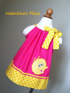 Sesame street big bird pillowcase dress by Valentinasplace on Etsy