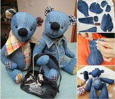 Repurpose your old denim jeans into this adorable Teddy Bear! It's a super cute FREE Pattern and will make a beautiful gift for any little one. Tutorials via 'Inventive Denim and 'How Joyful' Denim Teddy Bear Tutorial Sewing Toys, Sewing Crafts, Sewing Projects, Diy Projects, Jean Crafts, Denim Crafts, Recycle Jeans, Repurpose, Recycled Denim