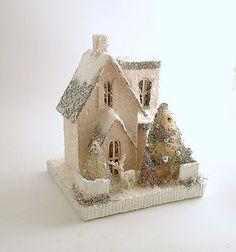 Mica Putz House Deer Pink Vintage Style Christmas Village Christmas Decoration
