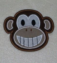 Monkey Face Embroidery Machine Applique Design by ZoeysDesigns, $5.00