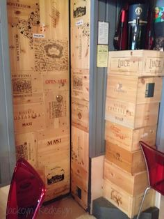 Love this Washroom Design! Jackcyn Redesign: A Creative Use For Wine Boxes