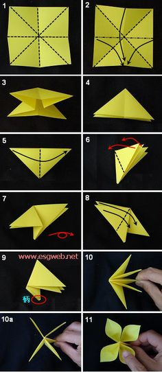 The four flowers | decorative flowers, paper flowers, origami, handmade, tutorials, DIY Garden handmade origami ~ :: e Jingyuan :: ~ wonderful handmade Diy ~ esgdiy.net ~ a very clear tutorial