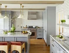 """There's something soothing about gray,"" says designer Angie Hranowsky of this Indianapolis kitchen.... - Nathan Kirkman"