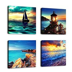 Sunset Seascape Wall Art Decor Canvas Prints Contemporary Painting Framed Ready to Hang 4 Panels Modern Ocean Artworks Giclee Pictures Sea Wave Beach Lighthouse Coastline for Home Bedroom Decoration *** Want additional info? Click on the image.