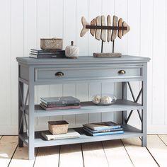 Table console en bois grise L 120 cm Newport | Maisons du Monde