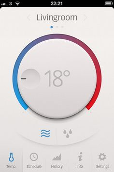 gui: Thermostat app  by Daniel Bruce Sep 16, 2012 (via dribbble 731854)