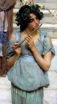 Title: The Fluted Girl, Detail from Spring, 1894 Artist: Sir Lawrence Alma-Tadema Medium: Hand-Painted Art Reproduction