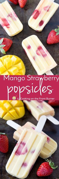Enjoy these Mango Strawberry Yogurt popsicles -  a refreshing summer treat made with only 4 ingredients!