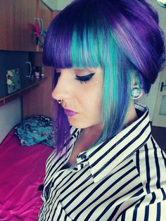 I always love this girl's hair - purple and turquoise