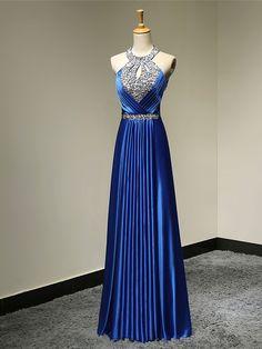 Formal Evening Dress - Royal Blue Plus Sizes / Petite A-line Halter Floor-length Satin - USD $89.99