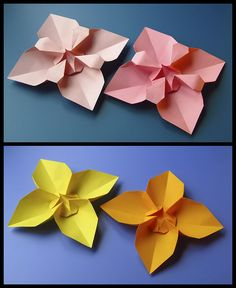 Fiore quadrato e variante 1 - Square Flower and variant 1. Origami, from a sheet of copy paper, 21 x 21 cm. Designed and folded by Francesco Guarnieri, April 2013. Instructions, CP: http://guarnieri-origami.blogspot.it/2013/04/fiore-quadrato-square-flower.html