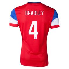 USA 2014 BRADLEY Away Football Shirt. 16.you can find football shirts fitted for you here. On our website, you can customize the name and the number of football players' you like on your football shirts. http://www.fifafootballshirts.co.uk/usa-shirt/usa-2014-bradley-away-football-shirt.html