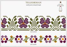 Semne Cusute: Romanian traditional motifs MUNTENIA, Teleorman Folk Embroidery, Embroidery Patterns, Cross Stitch Patterns, Hama Beads, Cross Stitching, Beading Patterns, Pixel Art, Diy And Crafts, Kids Rugs