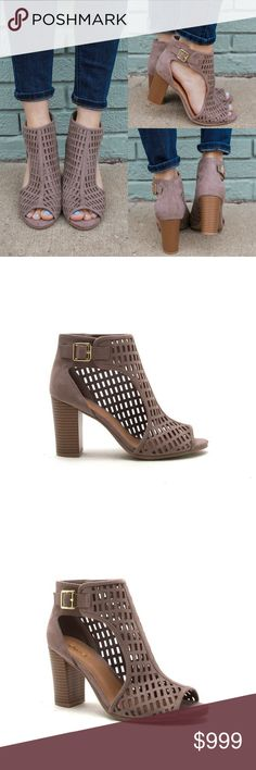 """Coming Soon ✨Taupe Cutout Peep Toe Booties Trendy girls rejoice, this versatile pair of heels will be your new go-to! These bootie cuties are a pair of faux suede, peep top, perforated design upper with a adjustable gold buckled ankle strap and finished with a block heel. Insole is lightly padded and heel height: 3.5"""" (approx). A must have for your wardrobe collection. FITS TRUE TO SIZE Shoes Ankle Boots & Booties"""