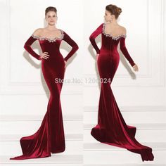 Elegant Crystal Sheer Mermaid Long Sleeves Velvet Prom Dresses 2015 Floor Length Burgundy Sexy Backless Formal Evening Gowns