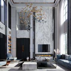Luxury Homes Interior, Modern Interior Design, Interior Design Living Room, Living Room Designs, Interior Architecture, Flur Design, Hall Design, Fireplace Design, Modern Fireplace