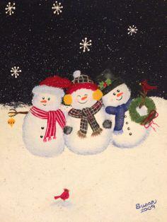 Snowmen.  One Stroke Painting by Susan Earl.
