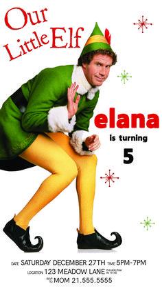 Birthday Elf, 90th Birthday Parties, Birthday Invitations Kids, Baby First Birthday, Movie Invitation, Invite, Elf Movie, Buddy The Elf, First Birthdays