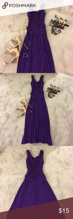 Floor-length dress 👗 Purple floor length dress! Draped chest piece. Fitted at torso and then hangs long at the waist. Never worn!! (Front: First 2 pics/ Back/ last 2 pics) Dresses Prom